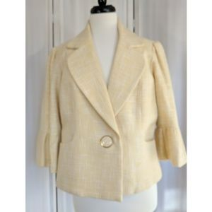 Nicole Miller butter yellow and white Blazer jacke